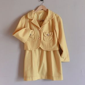 Canary yellow jacket and skirt set